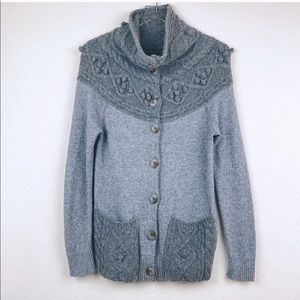 Anthropologie cablepom cardigan sweater